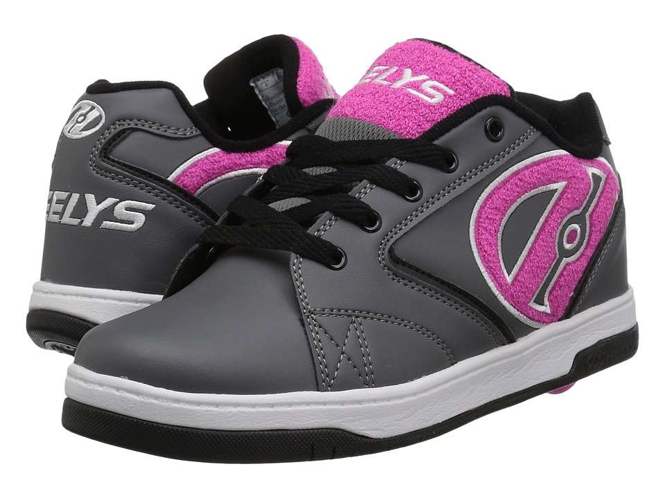 Heelys Propel Terry (Little Kid/Big Kid/Adult) (Charcoal/Pink Terry Logo) Girls Shoes