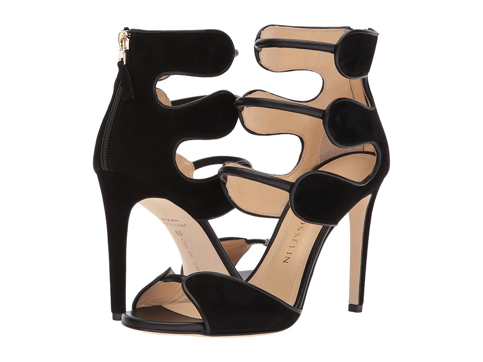 CHLOE GOSSELIN Larkspur Calf Suede Heel (Black) High Heels