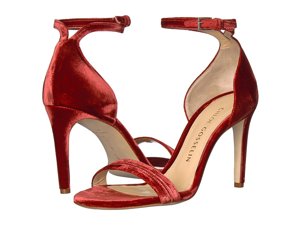 CHLOE GOSSELIN Narcissus Velvet Ankle Strap Heel (Rusty Red) High Heels