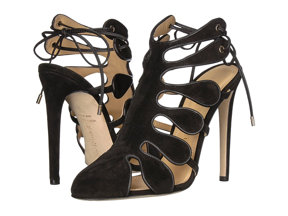 CHLOE GOSSELIN Calico Calf Suede Closed Toe Heel (Black) High Heels