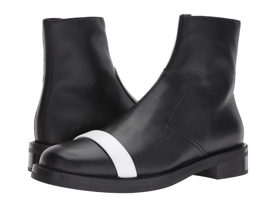 NEIL BARRETT Short Biker Boot (Black/White) Men's Boots