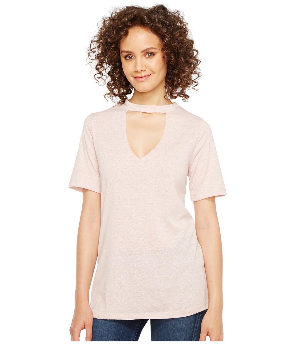 Culture Phit Fern Short Sleeve Keyhole Tee (Blush) Women