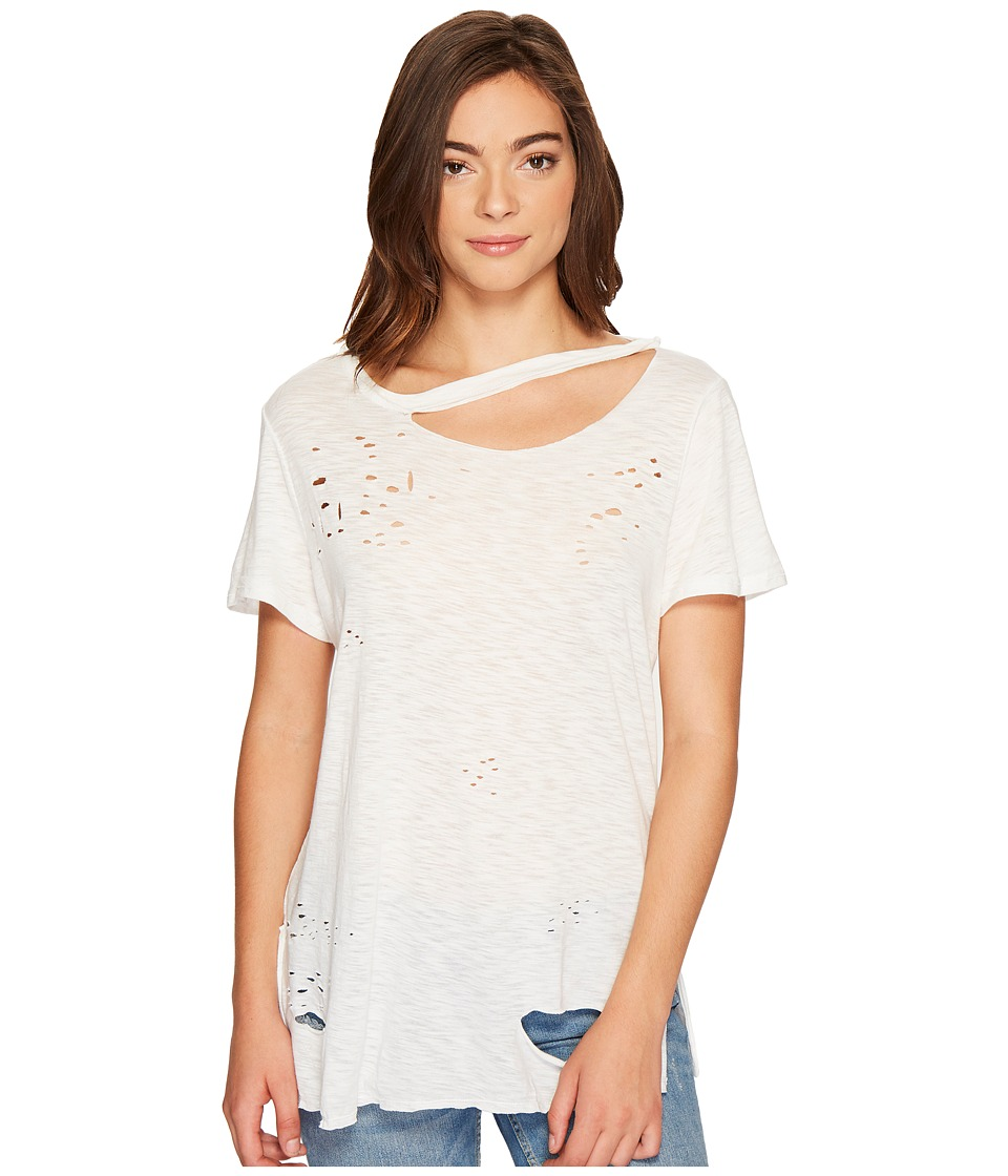 Culture Phit Niamh Distressed Top with Neck Cut Out (White) Women