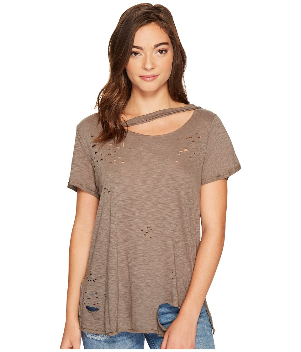 Culture Phit Niamh Distressed Top with Neck Cut Out (Olive) Women