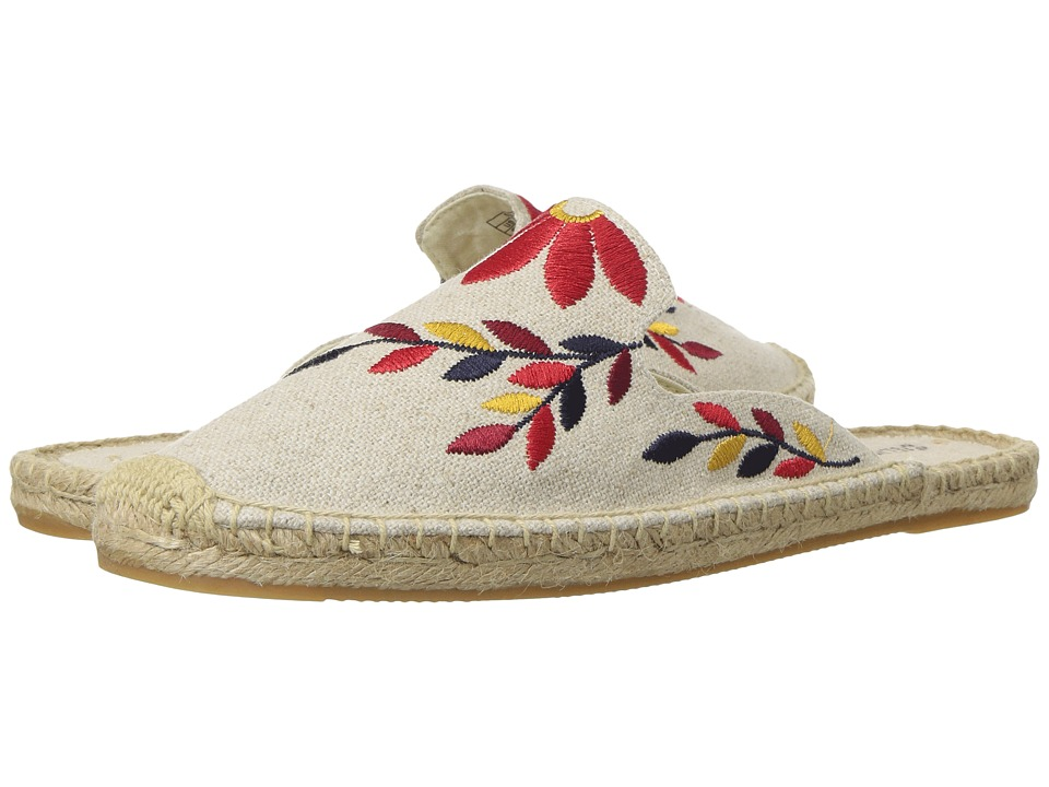 Soludos Embroidered Floral Mule (Sand/Red Multi) Women's Clog/Mule Shoes