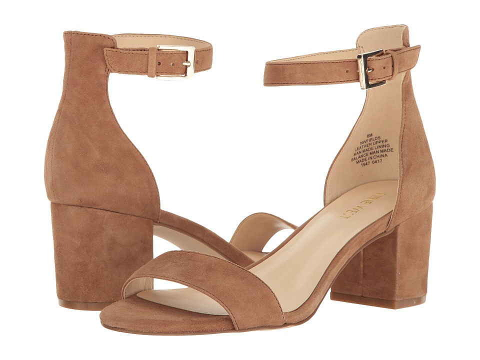 Nine West - Fields Block Heel Sandal (Natural Suede) Womens Shoes