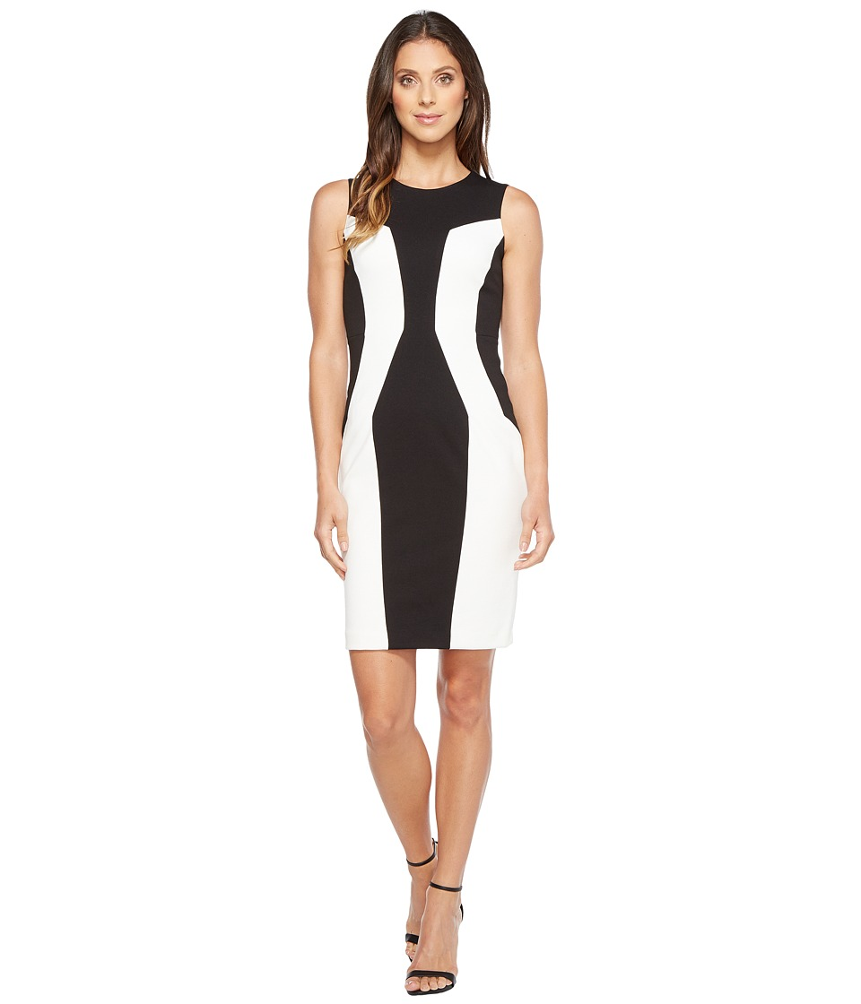 Calvin Klein Color Block Ponte Sheath Dress (Black/Ivory) Women