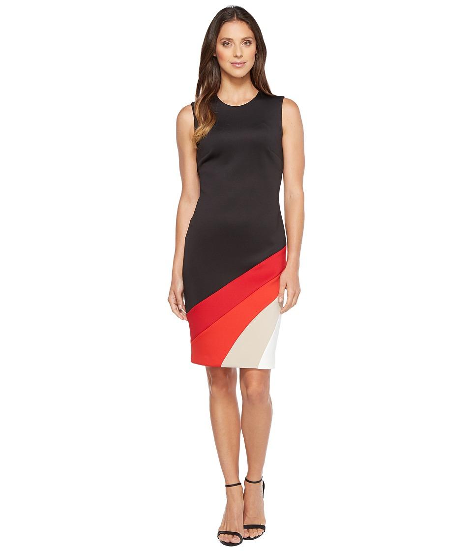 Calvin Klein Color Block Bottom Sheath Dress (Black/Red Multi) Women