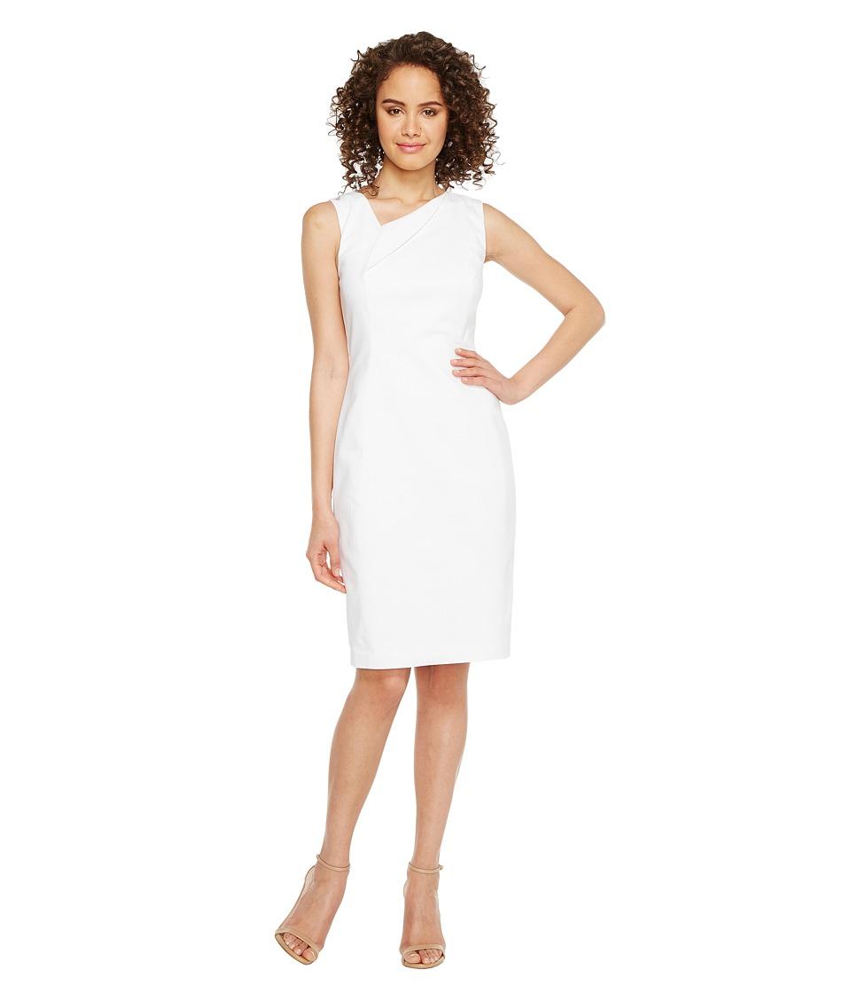 Calvin Klein Asymmetric Neck Cotton Sheath Dress (White) Women