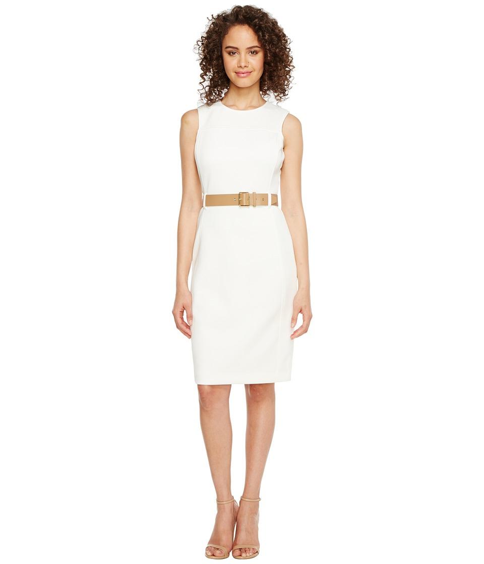 Calvin Klein Belted Scuba Sheath Dress (Cream) Women
