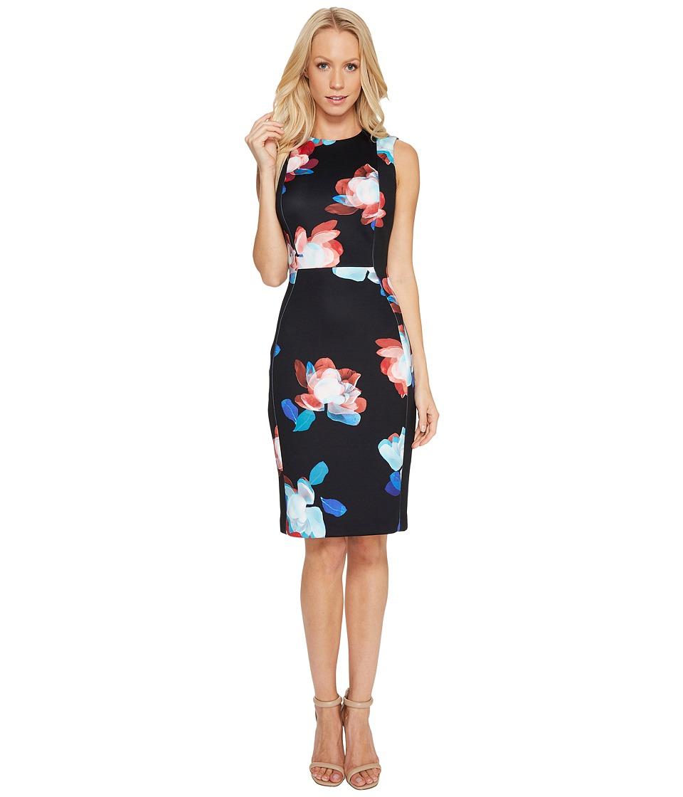 Calvin Klein Floral Print Scuba Dress (Black Multi) Women