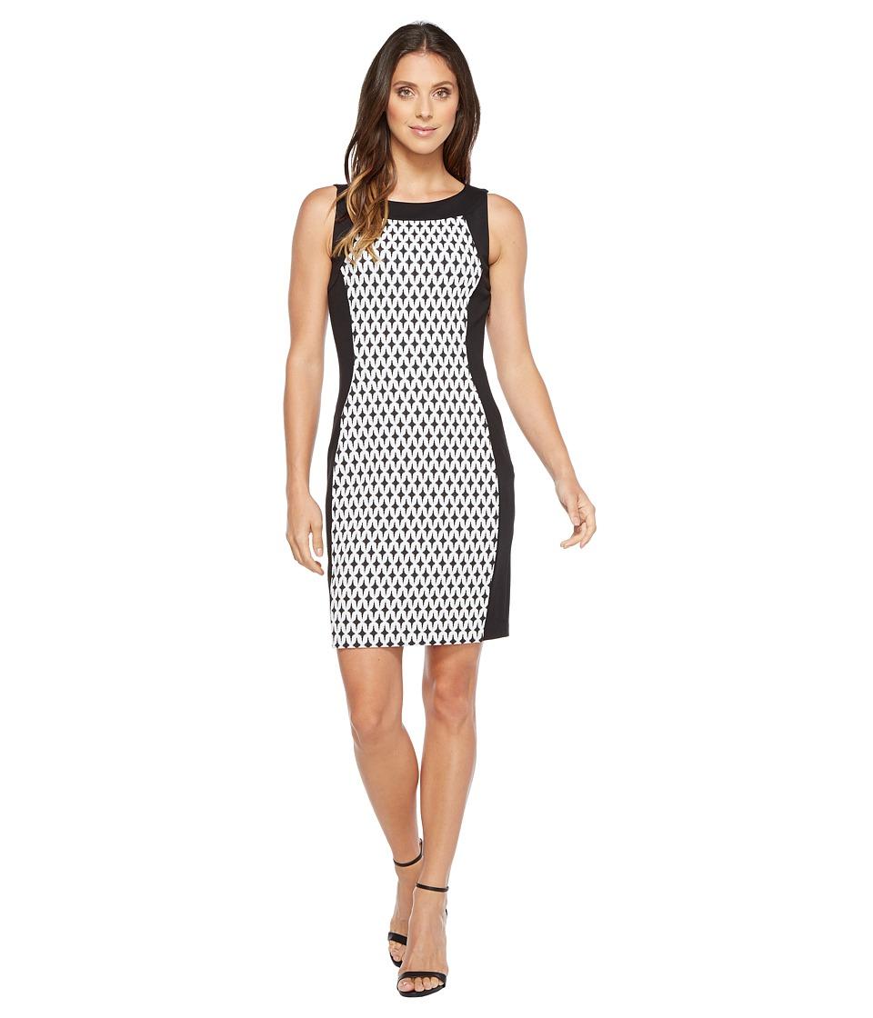 Calvin Klein Printed Front Panel Ponte Sheath Dress (Black/Cream/Black) Women