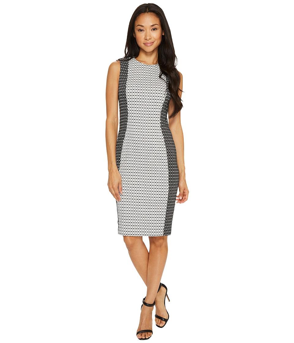 Calvin Klein Patterned Jacquard Sheath Dress (Black/White) Women