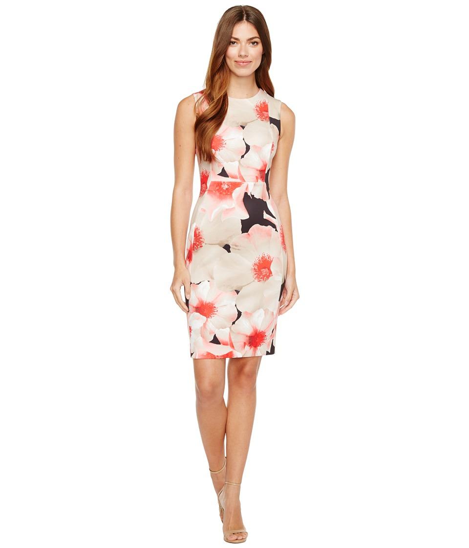 Calvin Klein Floral Print Sheath Dress (Kahki Multi) Women