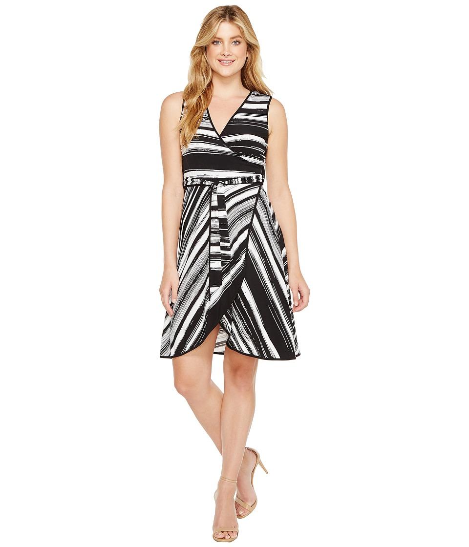 Calvin Klein Self Tie Printed Jersey Dress (Black/White) Women