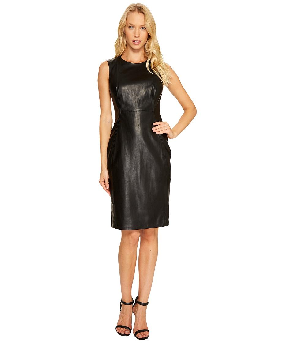 Calvin Klein PU Sheath Dress (Black) Women
