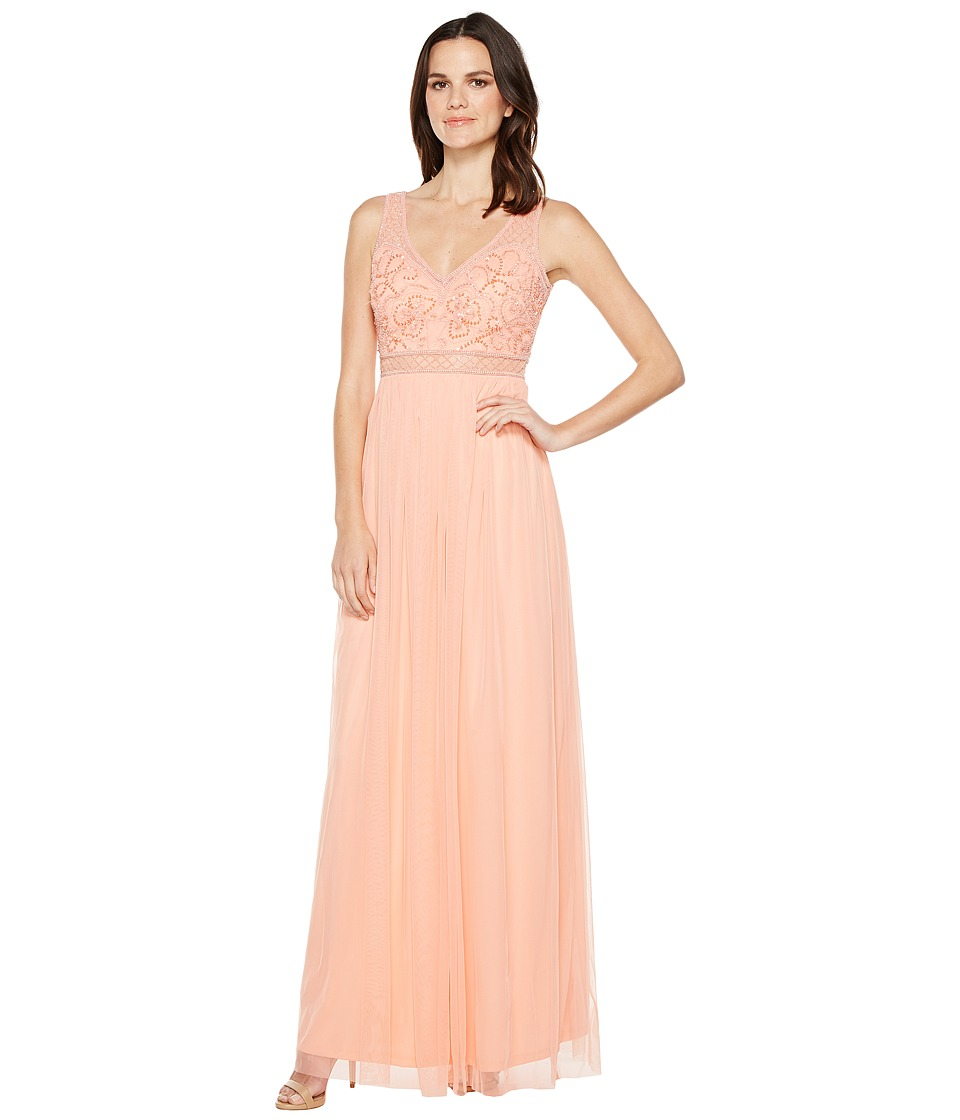 Adrianna Papell - Sleeveless Bead Gown with Shear Waistband