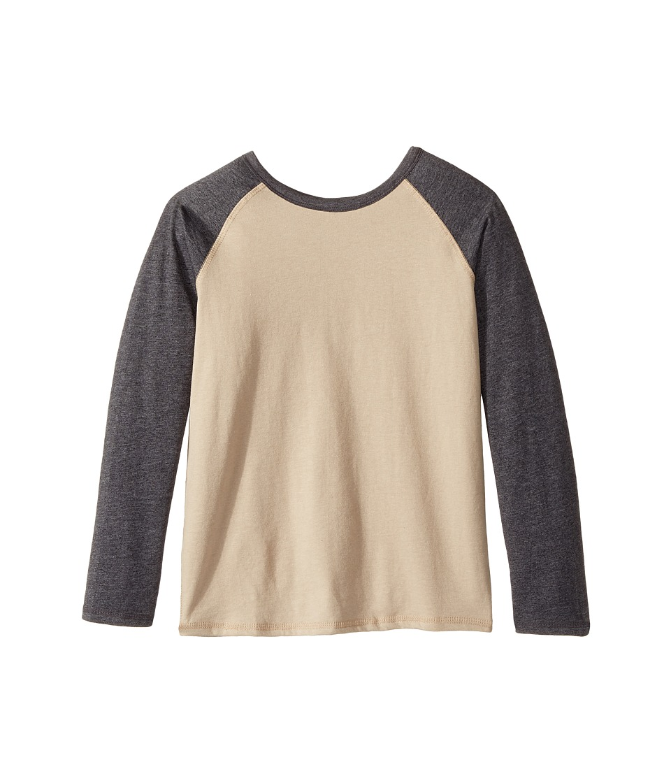 4Ward Clothing - Long Sleeve Raglan Shirt - Reversible Front/Back (Little Kids/Big Kids) (Charcoal/Oatmeal) Kids T Shirt