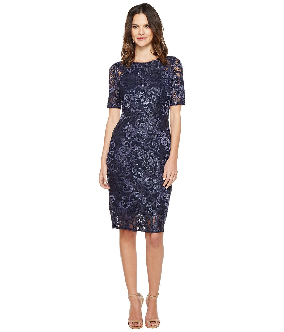 Adrianna Papell - Stretch Sequin Raglan Sheath Dress