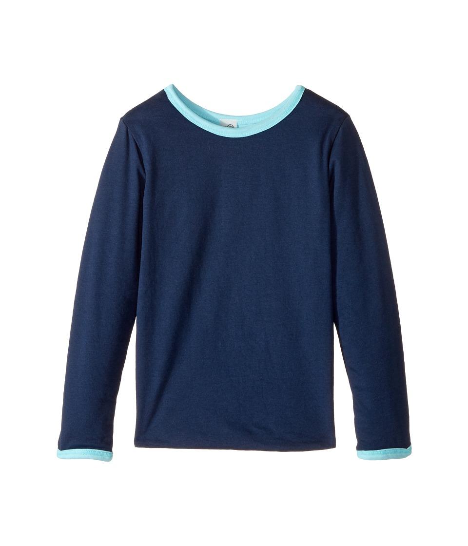4Ward Clothing - Four-Way Reversible Long Sleeve Scoop Jersey Top (Little Kids/Big Kids) (Sky/Navy) Girls Sweater