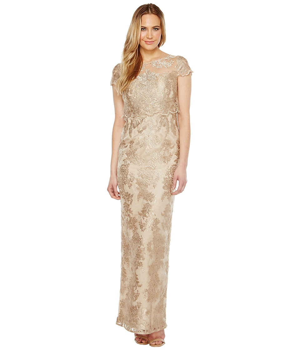Adrianna Papell - Pop Over Embroidered Gown (Rose Gold/Nude) Womens Dress