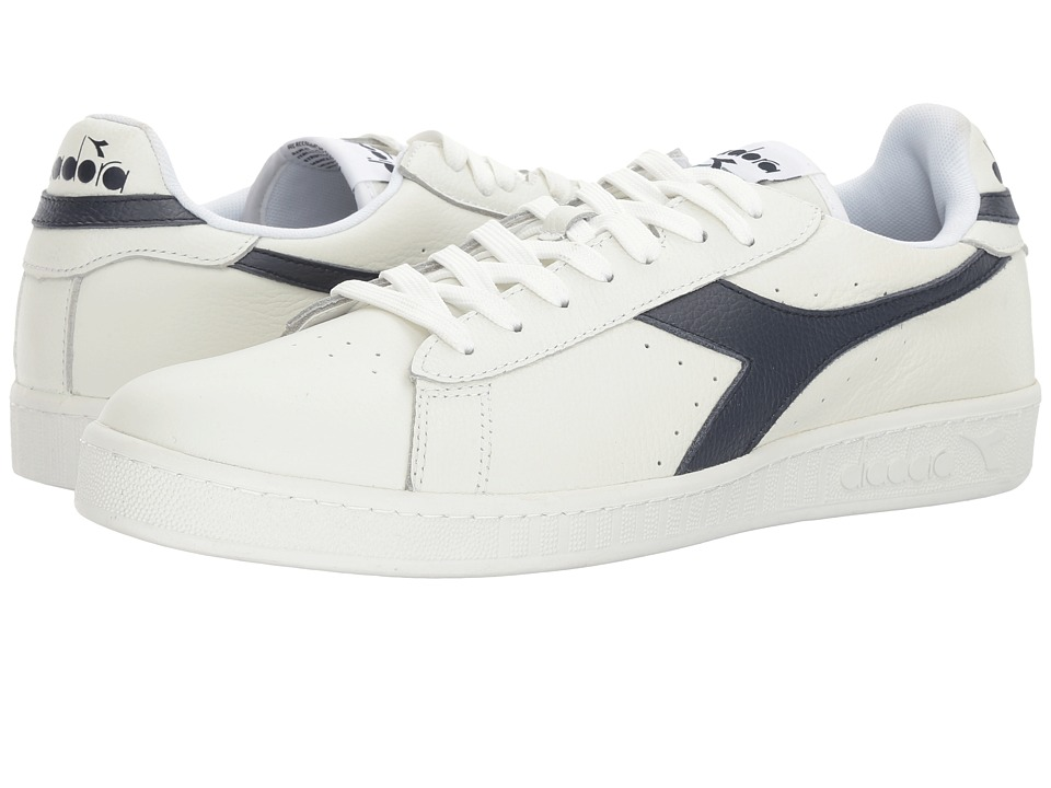 Diadora Game L Low Waxed (White/Dress Blues/White) Athletic Shoes