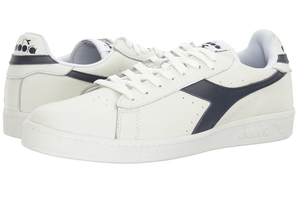 Diadora Game L Low Waxed (White/Dress Blues/White) Athletic Shoes