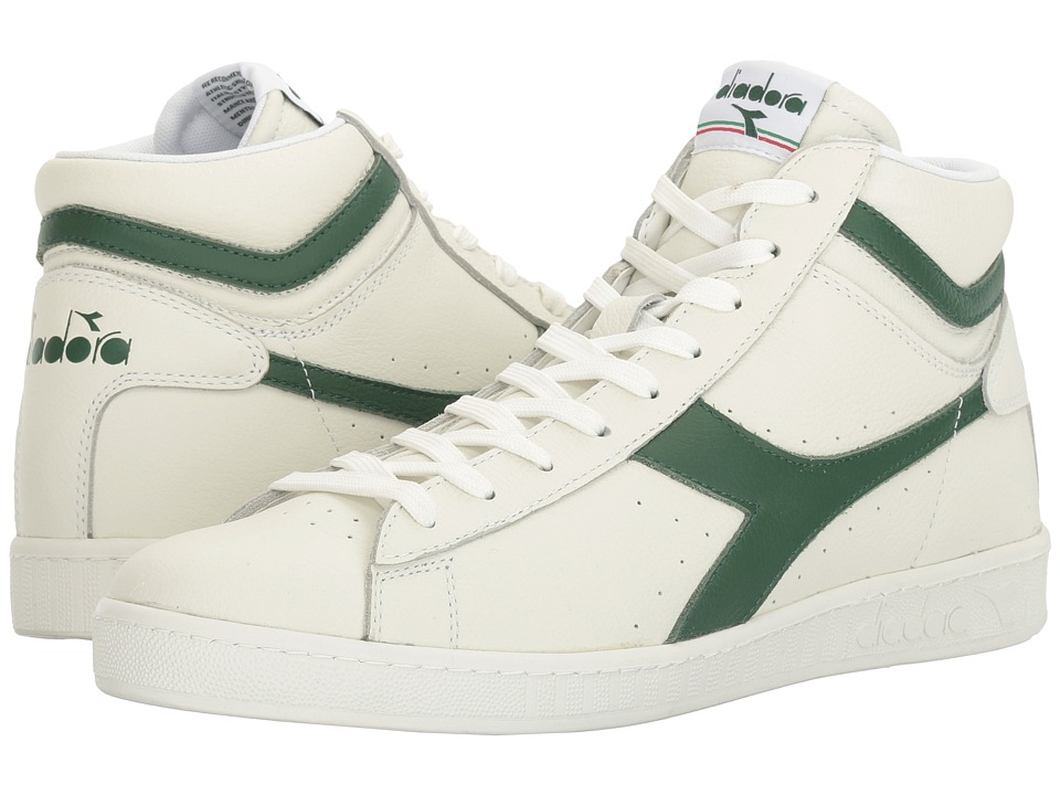 Diadora Game L High Waxed (White/Greener Pastures/White) Athletic Shoes