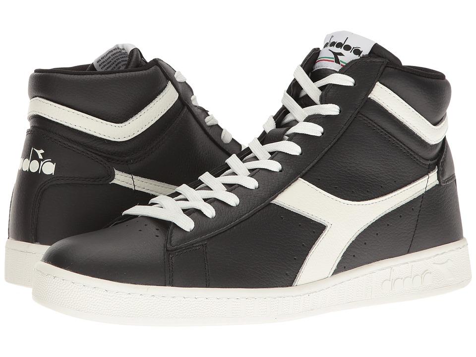 Diadora Game L High Waxed (Black/White/Black) Athletic Shoes