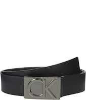 Calvin Klein - 38mm Belt w/ CK Logo Plaque Buckle