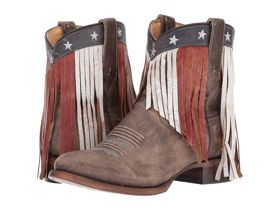 Roper Patriotic Fringe (Brown Leather) Cowboy Boots