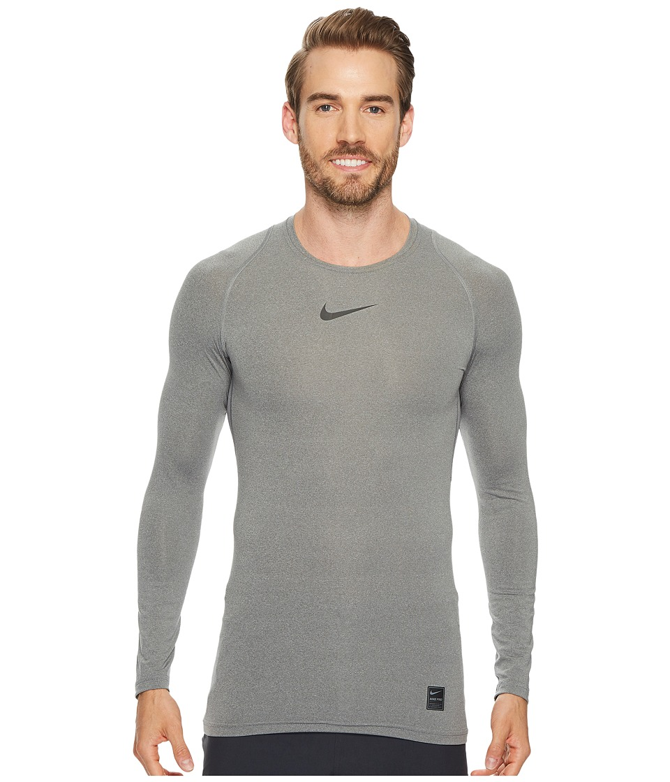 Nike Pro Compression Long Sleeve Training Top (Carbon Heather/Black/Black) Men
