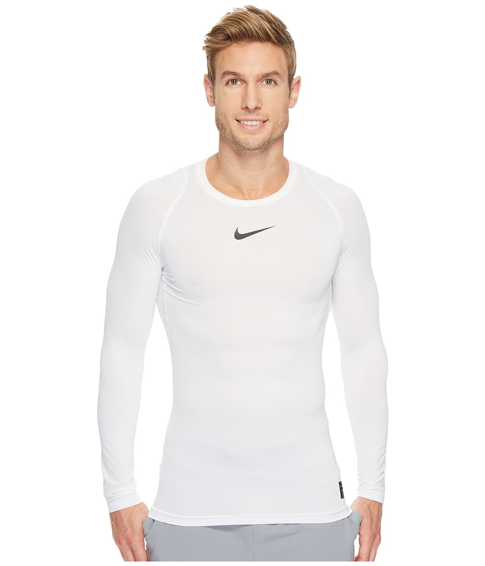Nike Pro Compression Long Sleeve Training Top (White/Black/Black) Men