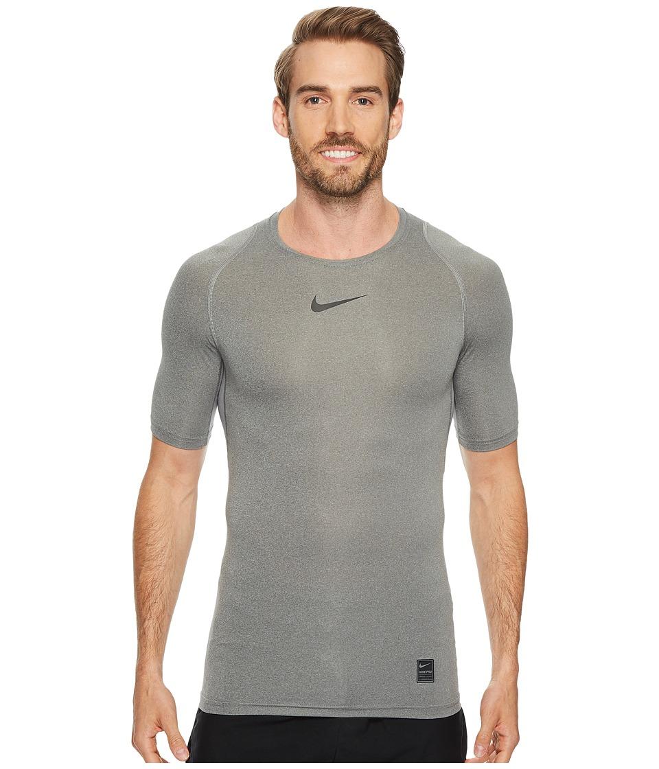 Nike Pro Compression Short Sleeve Training Top (Carbon Heather/Black/Black) Men
