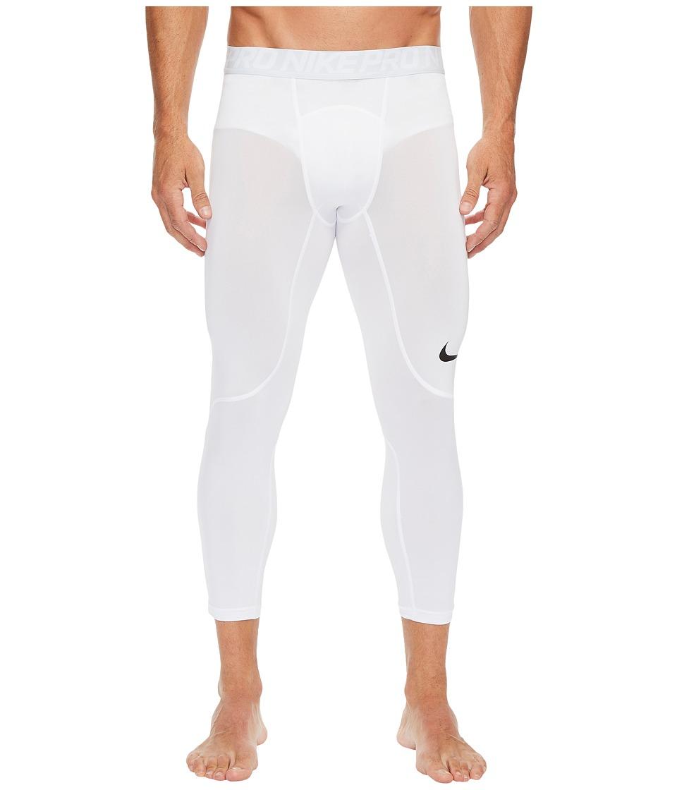 Nike Pro 3/4 Tight (White/Pure Platinum/Black) Men