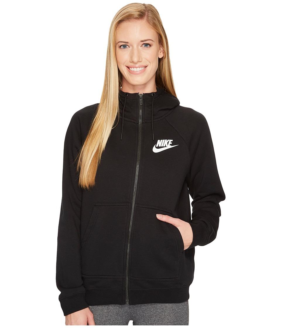 Nike Sportswear Rally Full Zip Hoodie (Black/Black/White) Women
