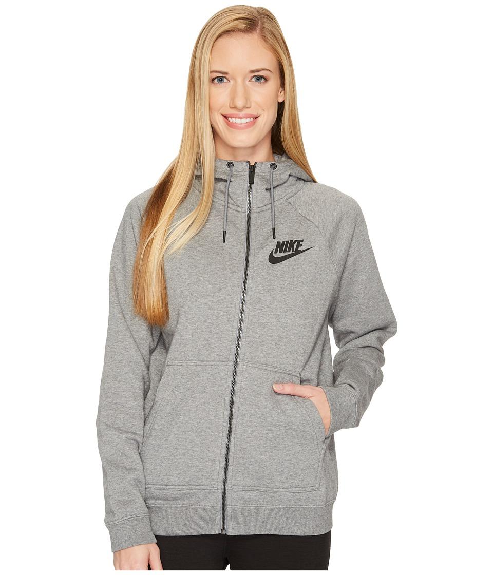 Nike Sportswear Rally Full Zip Hoodie (Carbon Heather/Cool Grey/Black) Women