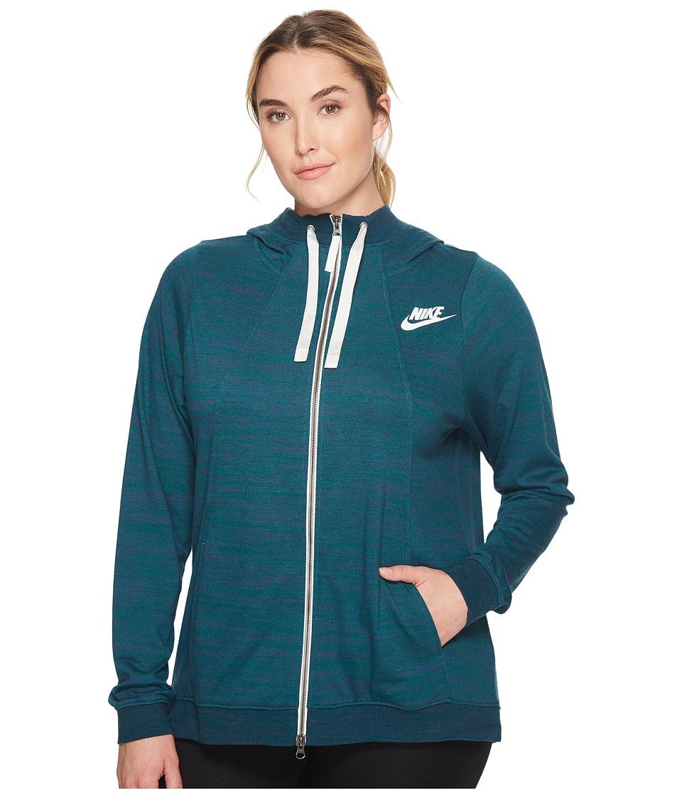 Nike Sportswear Gym Classic Full-Zip Hoodie (Size 1X-3X) (Dark Atomic Teal/Heather/Sail) Women