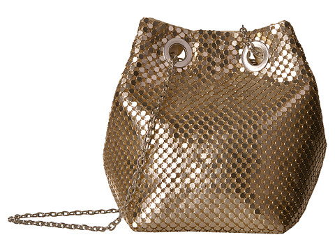 Jessica McClintock Kendra Mesh Bucket Bag - Light Gold