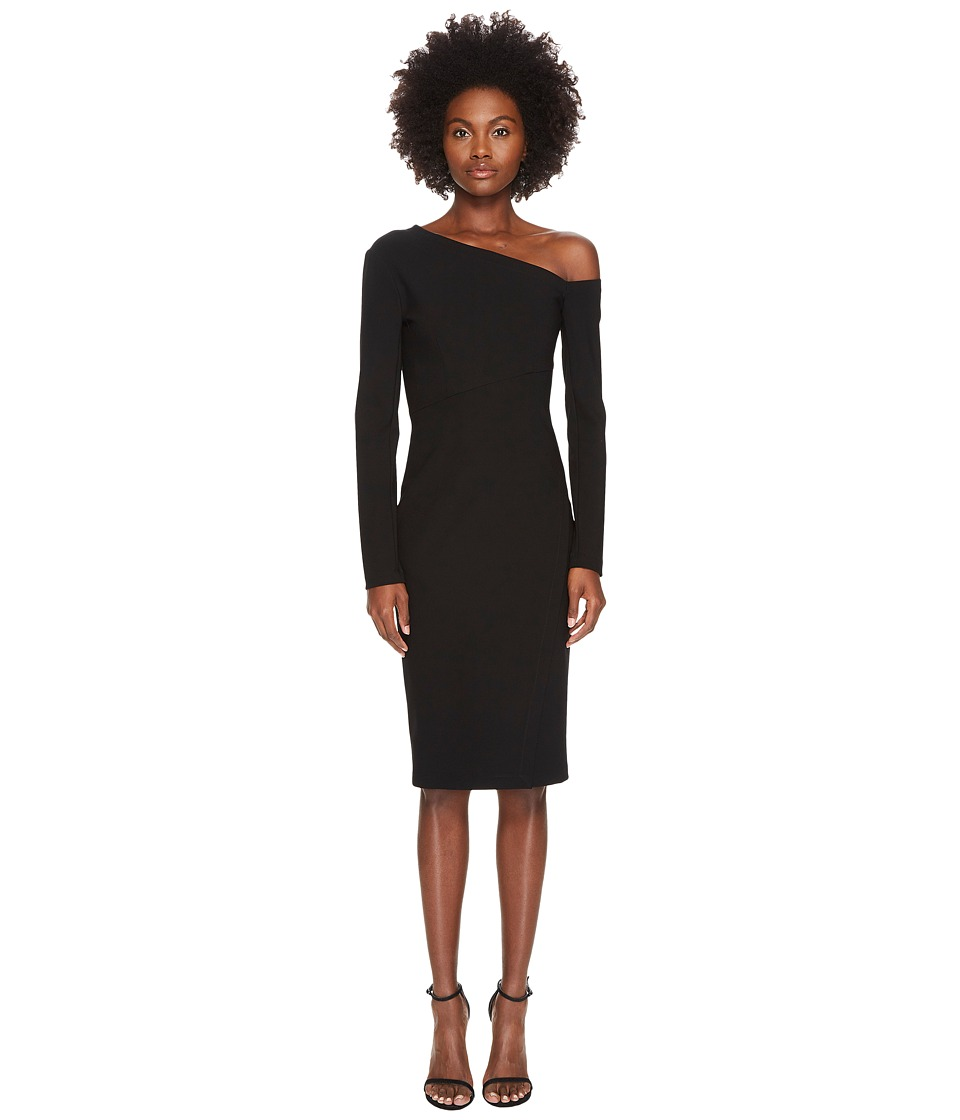 YIGAL AZROUEL 3/4 Sleeve One Shoulder Fitted Dress (Black) Women