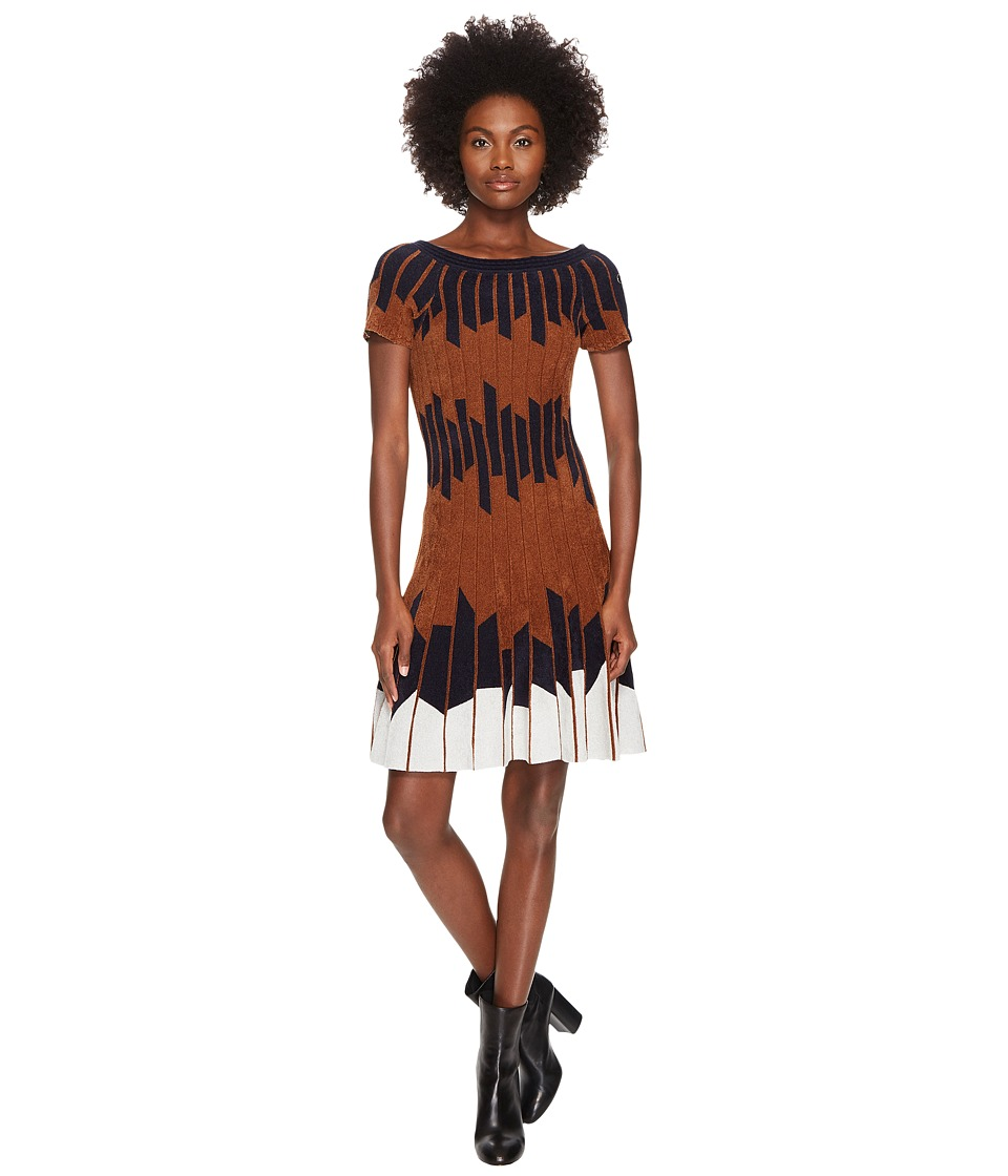 YIGAL AZROUEL Geometric Pleated Chennile Dress (Hazelnut Multi) Women