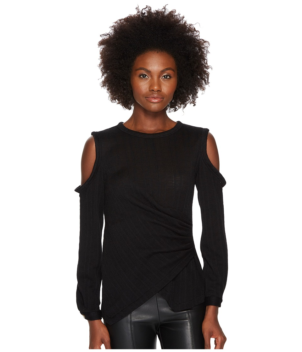 YIGAL AZROUEL - Star Knit Jacquard Cold Shoulder Top