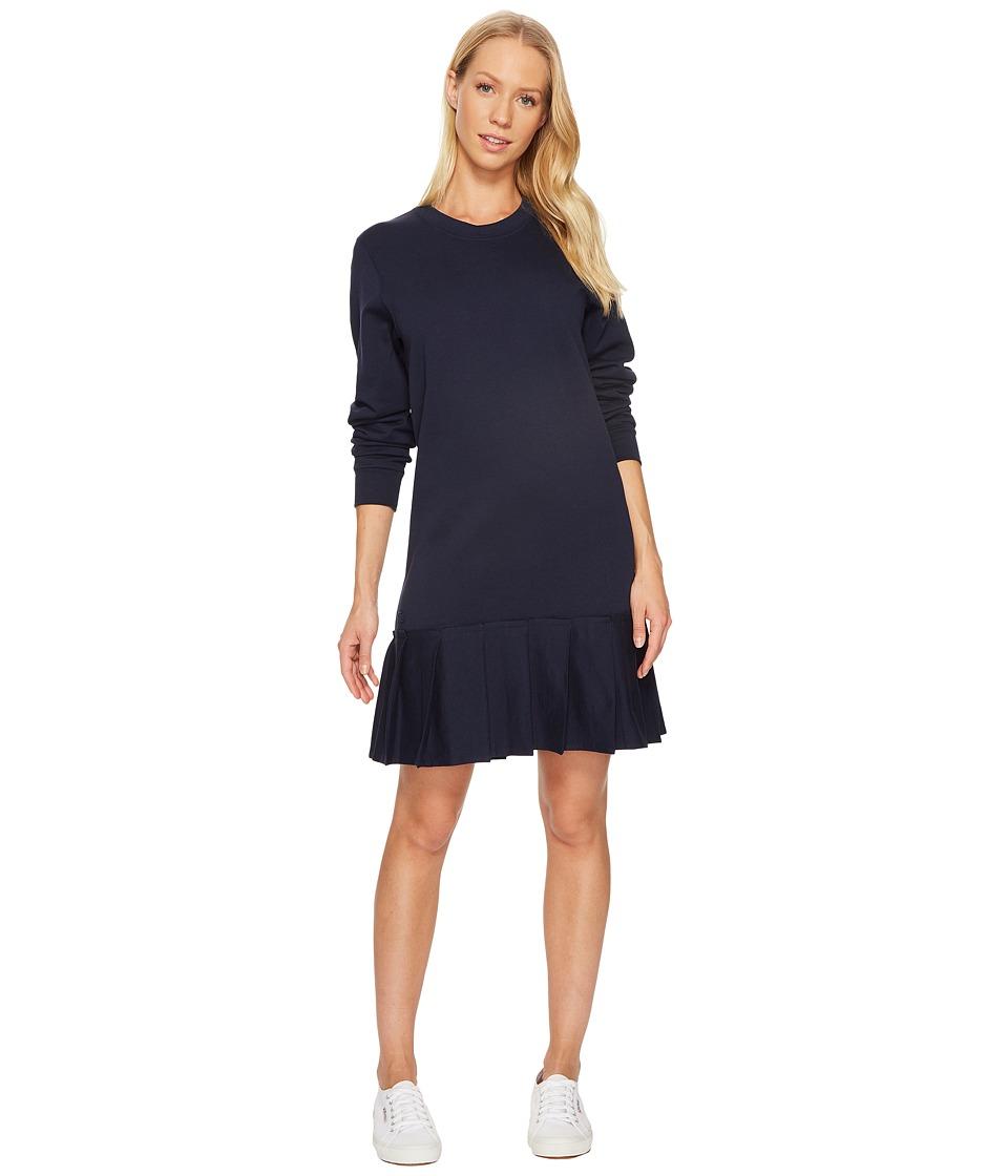 Lacoste Crepe Non Brushed Fleece Sweater Dress w/ Pleated Bottom (Navy Blue) Women