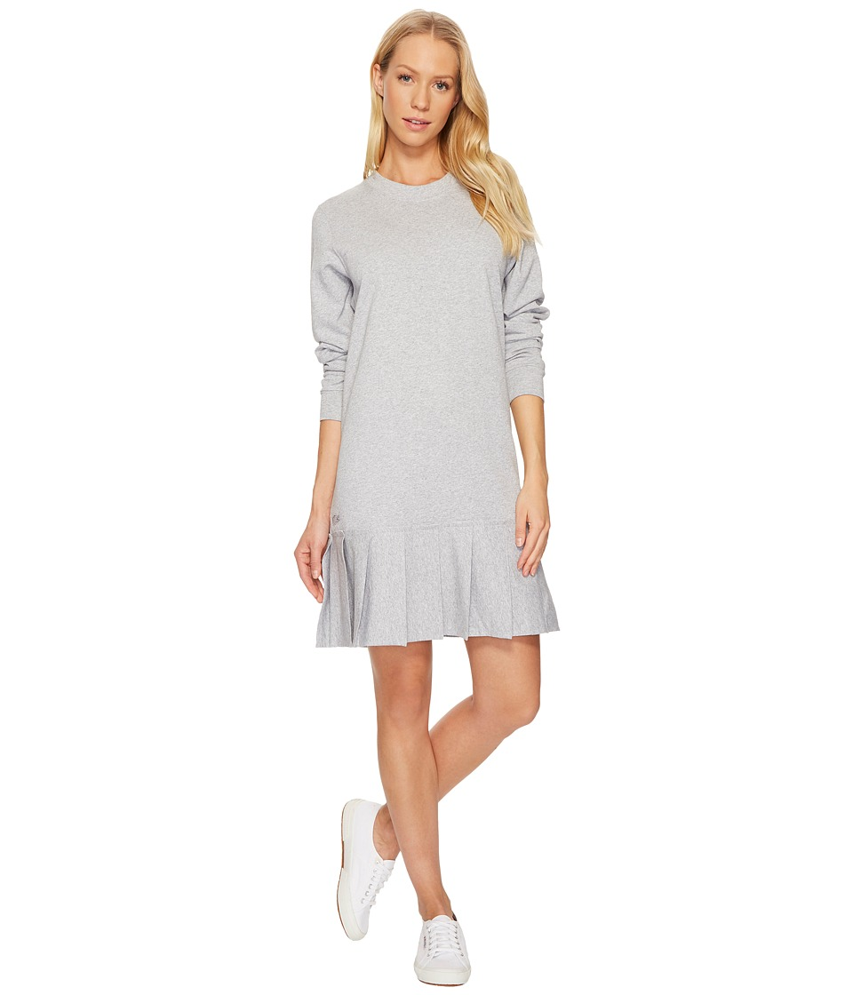Lacoste Crepe Non Brushed Fleece Sweater Dress w/ Pleated Bottom (Silver Chine) Women