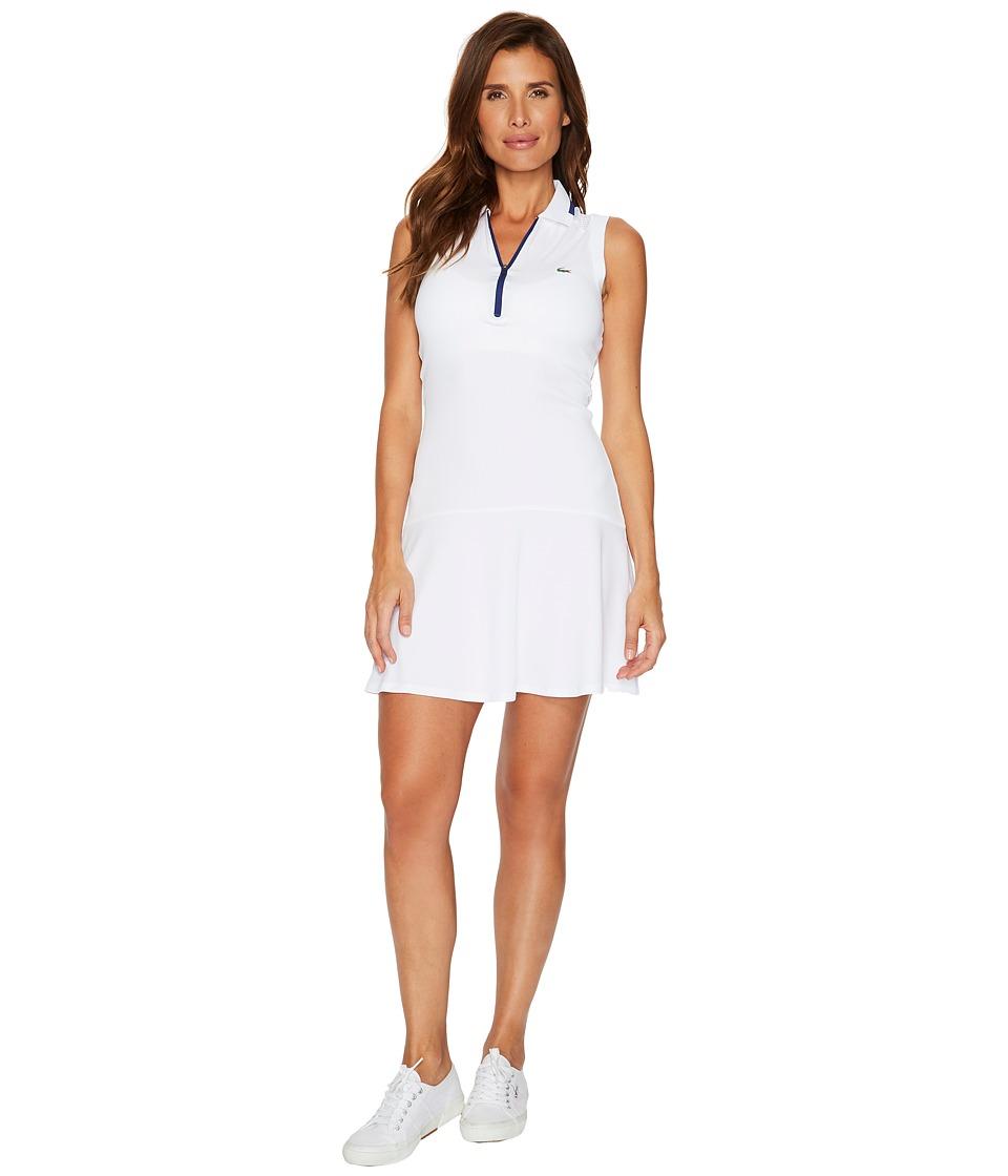 Lacoste Ultra Dry Pique Sleeveless Polo Dress with Skirt Effect (White/Ocean) Women