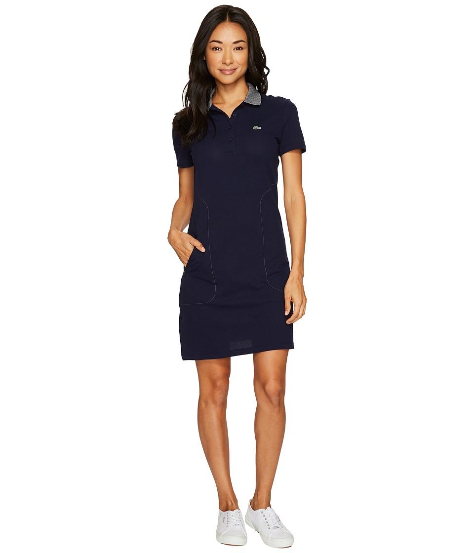Lacoste Short Sleeve Stretch Mini Pique Polo Dress (Navy Blue/Mouline Navy Blue) Women