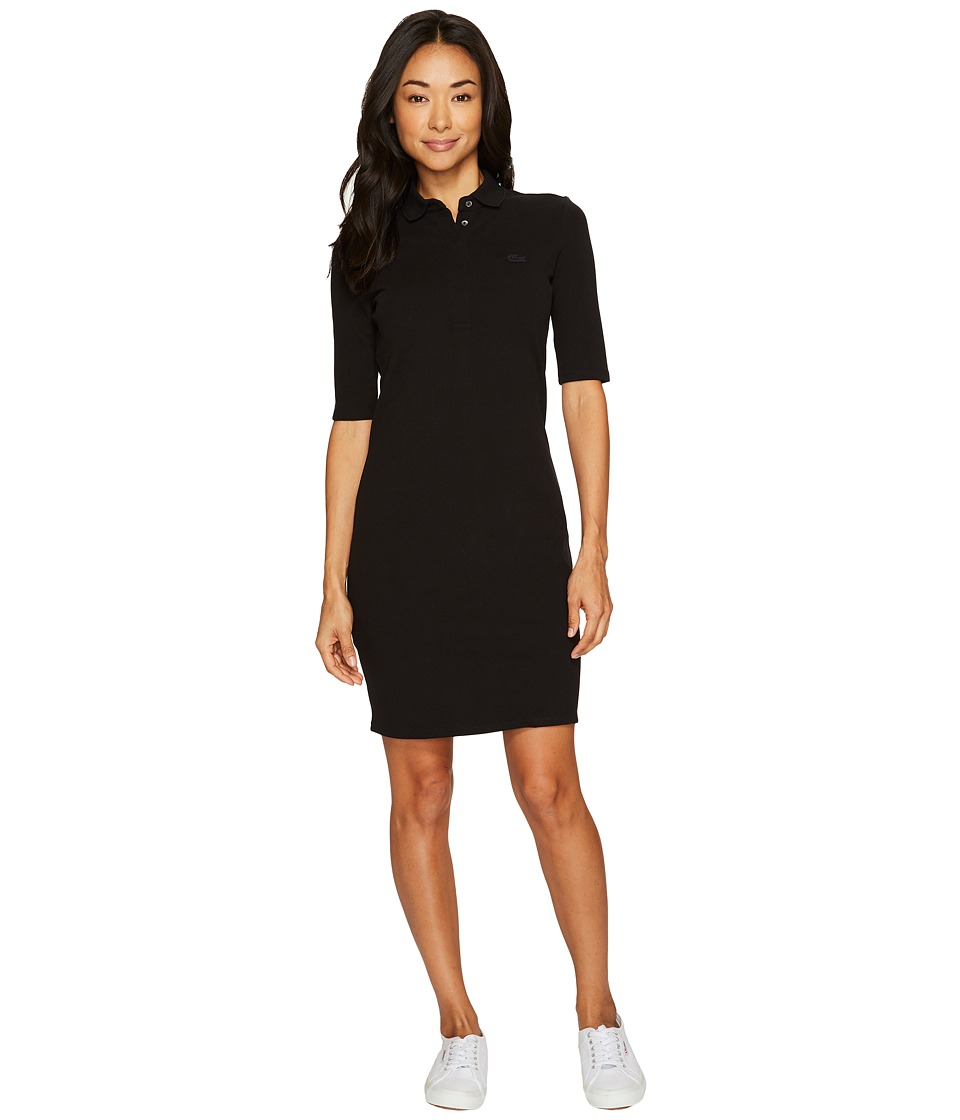 Lacoste - 1/2 Sleeve Stretch Pique Polo Dress (Black) Womens Dress