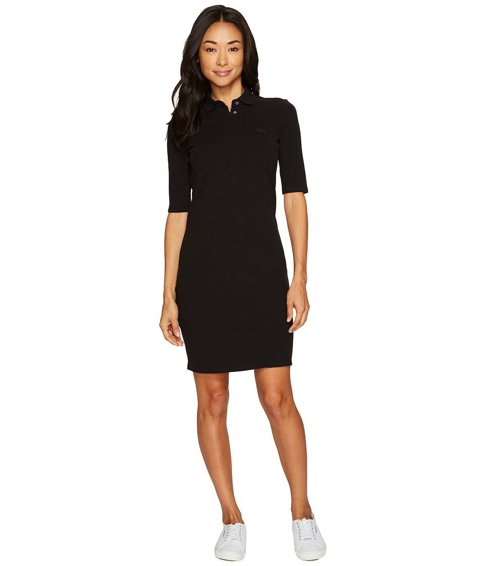 Lacoste 1/2 Sleeve Stretch Pique Polo Dress (Black) Women