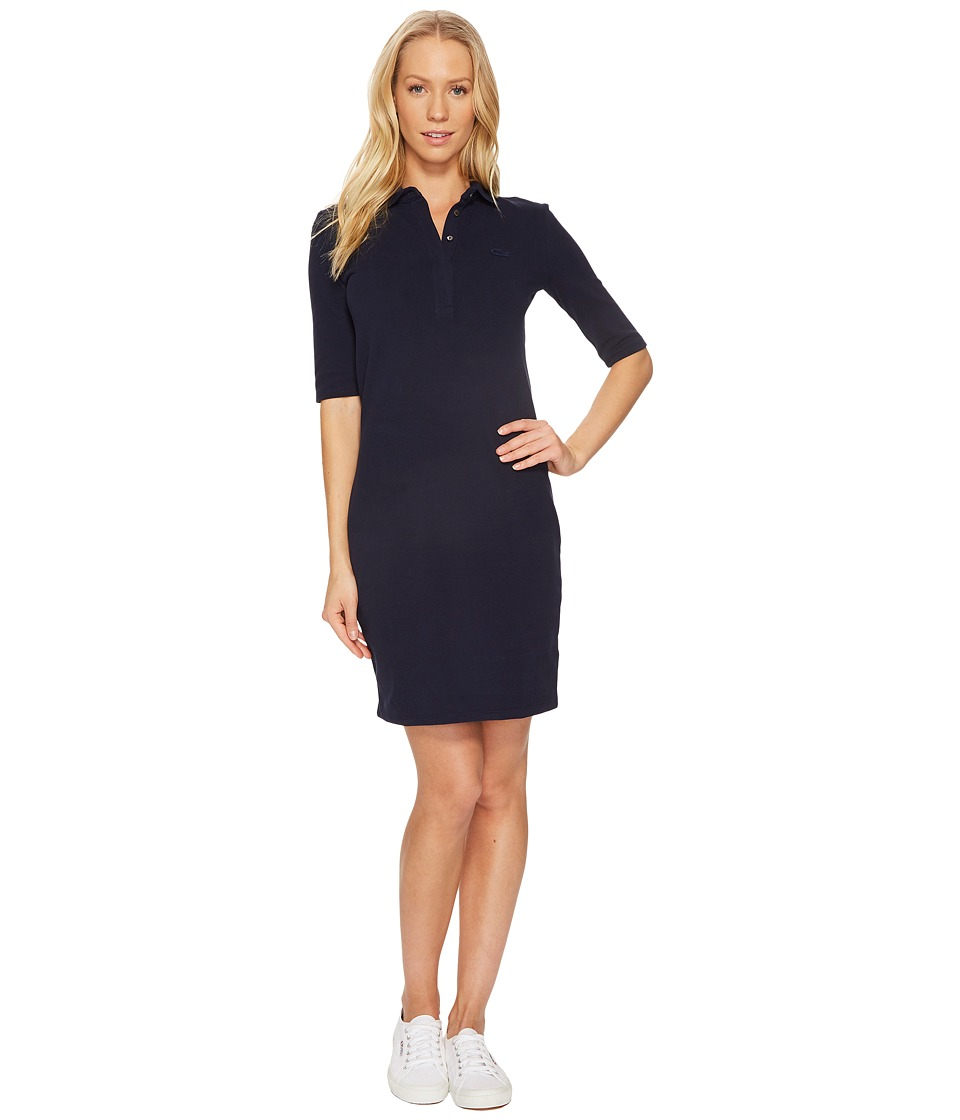 Lacoste 1/2 Sleeve Stretch Pique Polo Dress (Navy Blue) Women