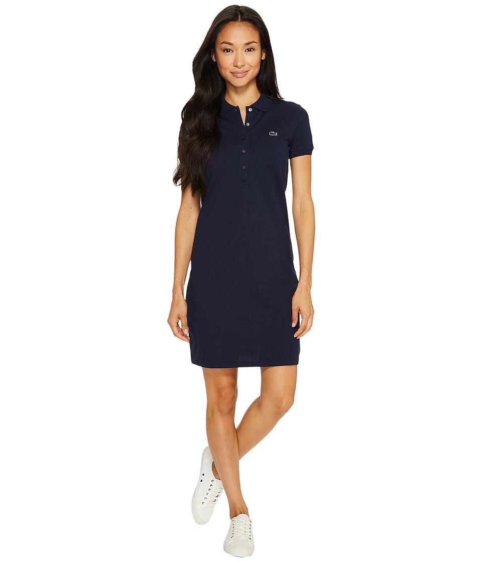 Lacoste Short Sleeve Pique Polo Dress (Navy Blue) Women